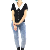 90s Preppy Goth Blouse Black and White Clueless Grunge Top Short Sleeves Peter Pan Collar Button Down Back Fitted Blouse  (M)