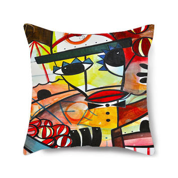 Decorative Home Pillow Cover, Throw Pillow, Circus Art, Nursery Pillow, Abstract Pillow, Colorful Pillows, Accent Pillow, The Juggler II