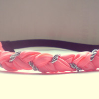 Neon Coral and Silver Braided Headband Hippie Headband Womens Hair Accessories Elastic Headband