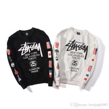 2018 Stussy Designs hoodies ST World Tour Paint Colorful Splash-ink Unisex Sweats Tops Couples Hoodies Fleece Bird OVO Drake D7925