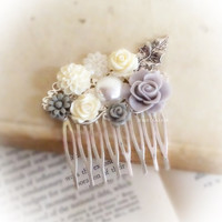 Gray Wedding Hair Comb Elegant Bridal Headpiece Romantic Floral Hair Accessories Vintage Style Salty Gray White Silver Leaf Pearl Rustic WR