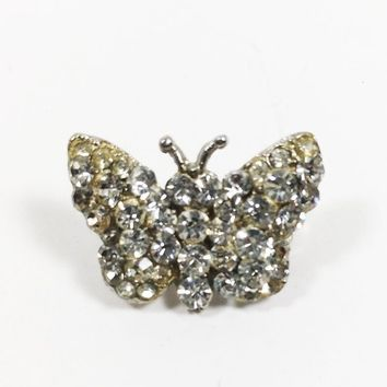 Rhinestone Butterfly Lapel Pin Vintage Mid Century Hat Flair in Silver Tone Embellishment Collar Pin Miniature Butterfly Sparkle Collectible