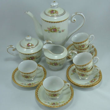 Vintage Coffee Pot Sugar Creamer and Six Matching Demitasse Cups and Saucers