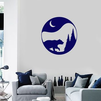Vinyl Wall Decal Nature Bear Trees Moon Home Room Decor Art Stickers Mural (ig5657)