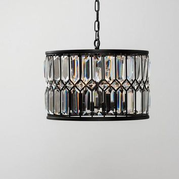 CLASSIC CONCEPTS Medium Iris Round Black Chandelier