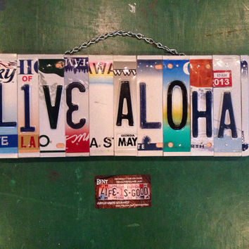 Aloha. Recycle. License plate. Decor . Hawaii. Surf. Beach. Rainbow. Sign. Hippie