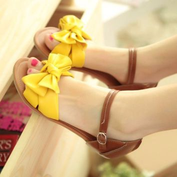 Summer Ankle Strap Bowknot Women Flat Sandals