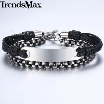 Trendsmax Men's Bracelet Stainless Steel ID Bar Engraving Strands Leather Bracelet for Men 2018 Dropshipping Jewelry KDLB61