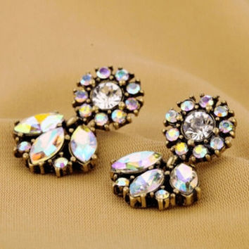 Fashion Jewelry Bohemian Resin Drop Crystal Flower Earrings Studs