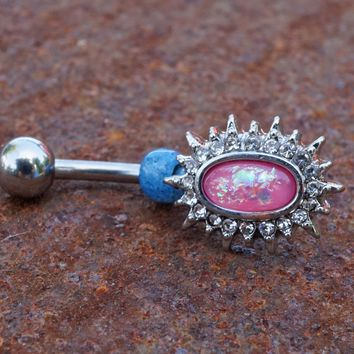 Pink Opal Sunburst Belly Button Ring