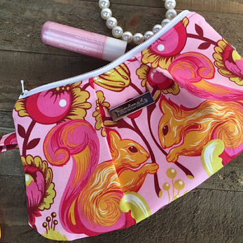 Pleated Wristlet, Clutch Purse, Zipper Pouch, Tula Pink Squirrels