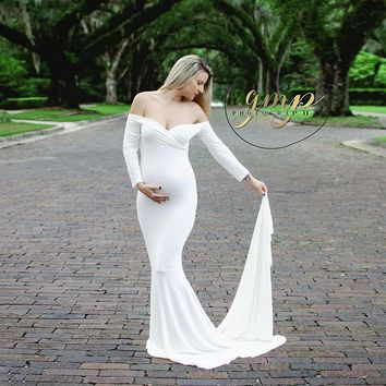 Long Sleeve and Train Stretch Cotton Maternity Photography Dress Free size Maternity Photo Props Baby Shower Gift for Pregnant