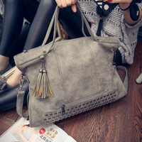 New Tassel Bags Women Branded Leather Rivet Handbag Shoulder Bag Nubuck Messenger Bag Tote