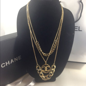Long Layer Necklace W Chanel Charm (Handmade)