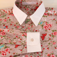 Dress shirt with floral print 'Bird' brown, bespoke shirt, vintage inspired dress shirt