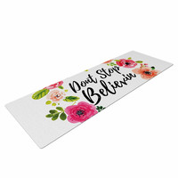 "KESS Original ""Don't Stop Believin"" Coral White Yoga Mat"