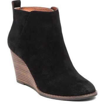 DCCKAB3 Lucky Brand Yezzah Black Oiled Suede Wedge Booties