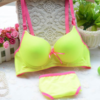 New arrival Lolita cotton bra set fluorescent candy color comfortable girls underwear bra sets