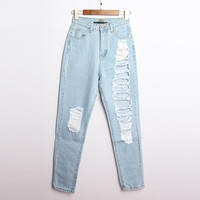 Fashion light blue hole jeans AT0112B