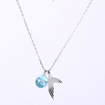 ZIRIS Hot Sale Women Necklace Pendant S925 Sterling Silver Mermaid Tail Clear Crystal Beads for Birthday Holiday Gift