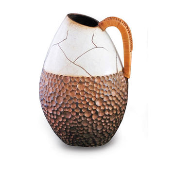 New Rustics Furniture Company SWWHV Sedona Pottery with Wicker Handled Vase