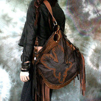 Rock Star Bag Black brown leather american eagle fringe rocker motorbike hobo  bag bird  gothic rock n roll bag  metalhead raw asymmetrical