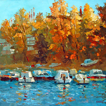 Boats on the waterfront OIL PALETTE KNIFE on canvas Painting by Dmitry Spiros. 32x24 in. 80 x 60 cm
