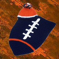 Denver Broncos Inspired Football Baby Cocoon & Hat (Newborn to 3 months)