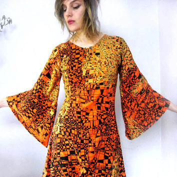 Made to Order Orange Tunic dress with black and metallic gold geometric pattern -  wide bell sleeve vintage style art print dress