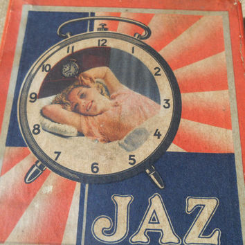 Antique 1930's JAZ Clock Modic Silencieux French Paper Box Sleeping Lady Photo Red Blue & White Print Collectible Box French Scriptures