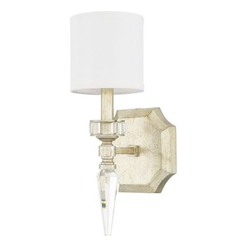Contemporary 1-light Winter Gold Wall Sconce - linen shade