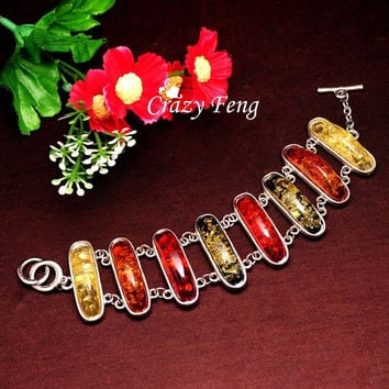 2015 Women/Lady's Vintage Silver Plated Colorful Amber Bracelets Jewelry for Gift = 1946276676