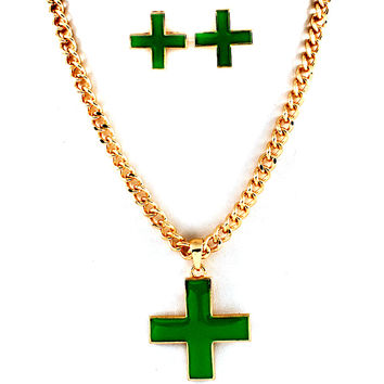 enameled green cross necklace and earring set (medical marijuana)