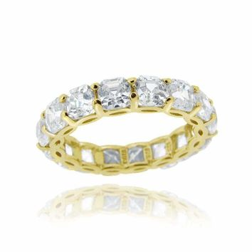 18K Gold over Sterling Silver Asscher-Cut CZ Eternity Wedding Band Ring