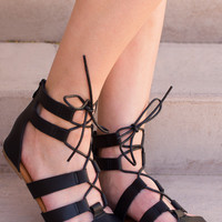 Cora Lace Up Sandals - Black