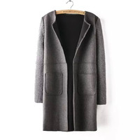 Woolen Knitted Patchwork Sleeve Coat
