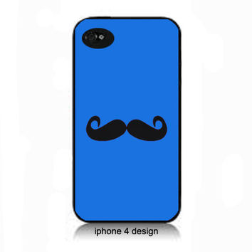Blue Mustache iphone 4 cell phone case