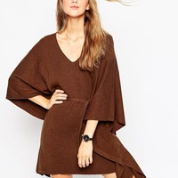 ASOS Belted Cape Dress With Ribbed Front Panel