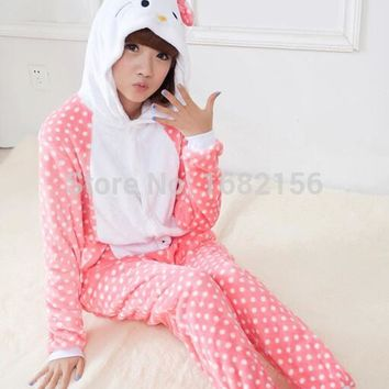 Winter Hello Kitty Onesuit Costume For Adult Children Women Pajamas Pyjama Flannel Hooded Clothing