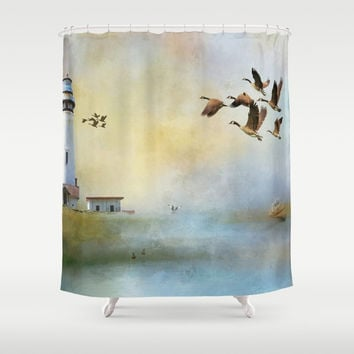 Lighthouse Bay II Shower Curtain by Theresa Campbell D'August Art