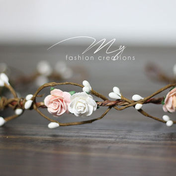 Womens Blush Floral Crown Off White Flower Crown Blush Hair Wreath Flower Girl Crown Wreath Ribbon Floral Head piece Bohemian Flower Crown