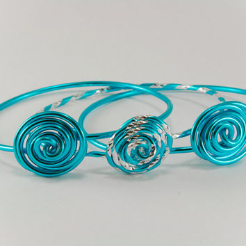 Stacking Bracelets Set of 3 Turquoise Rose Aluminum