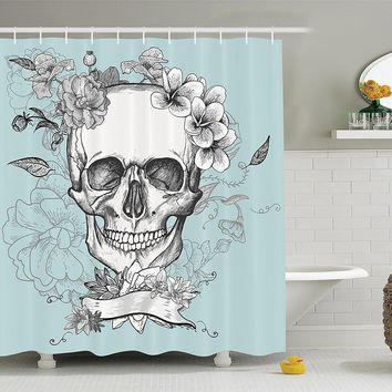 Day of The Dead Floral Skull Shower Curtain