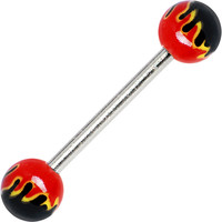 RED TOXIC FLAME Barbell body jewelry ring