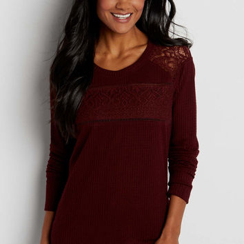 waffle knit top with lace | maurices