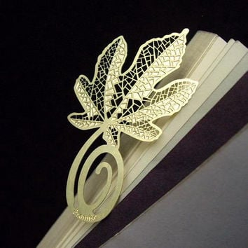Metal Bookmark Flat | Korea Stationery Book Bookmarks | Book Markers Art | Gold Plated Leaf
