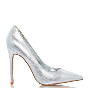 Shoe Republic LA Anniston Basic Patent Pump - Silver from Shoe Republic LA at ShopRoxx.com