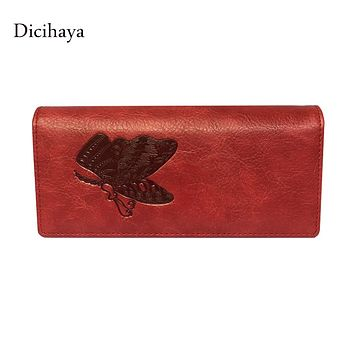 Dicihaya Leather Women Wallet Butterfly Embossing Ladies Clutch Money Bag Female Wallet With Phone Bag Purses Large Capacity