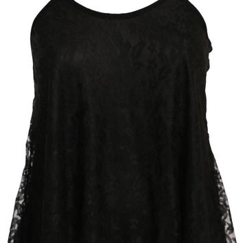 Sophie Lace Swing Camisole Top in Black