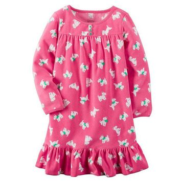 DCCKX8J Carter's Patterned Ruffled Nightgown - Girls 4-15 Size